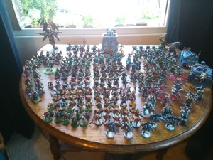 The whole army - mutants and assault squads to the front, cultists next, then CSMs, with the bosses and the artillery at the back.